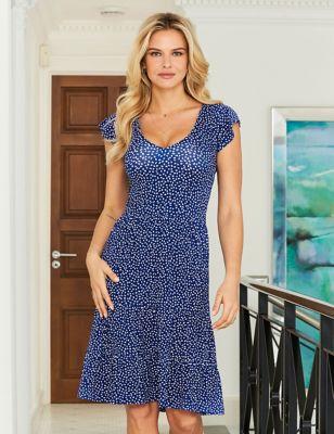 Jersey Spot Print V-Neck Midi Dress