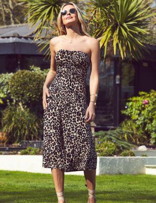 Animal Print Bandeau Midi Swing Dress