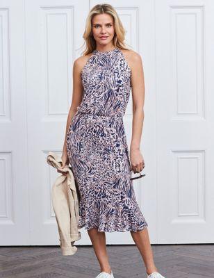 Animal Print Midi Tiered Dress