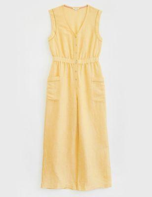 Linen Button Front Sleeveless Jumpsuit