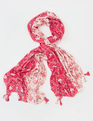 Printed Floral Tassel Scarf