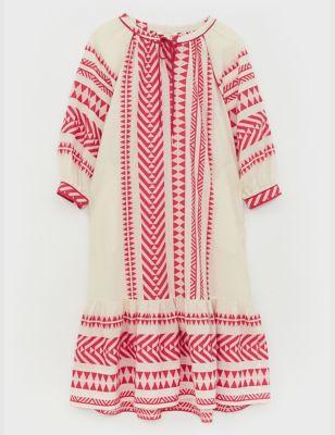 Pure Cotton Jacquard Midi Smock Dress