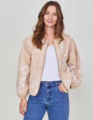 Pure Cotton Embroidered Bomber Jacket