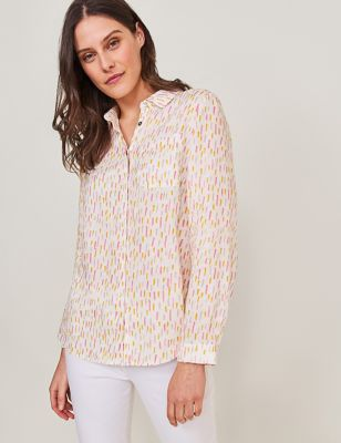 Pure Linen Printed Long Sleeve Shirt