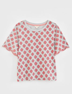 Pure Cotton Broderie Detail T-Shirt