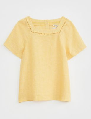 Pure Linen Square Neck Short Sleeve Top