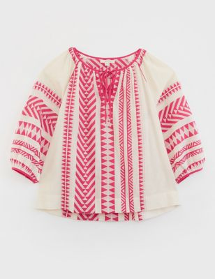 Pure Cotton Jacquard Relaxed 3/4 Sleeve Top