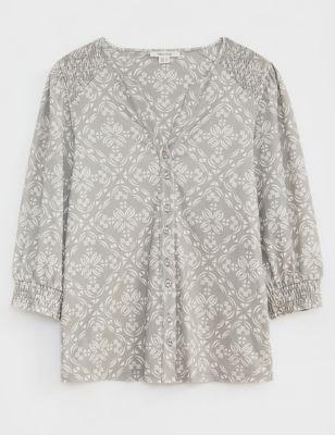 Pure Cotton Geometric Long Sleeve Shirt