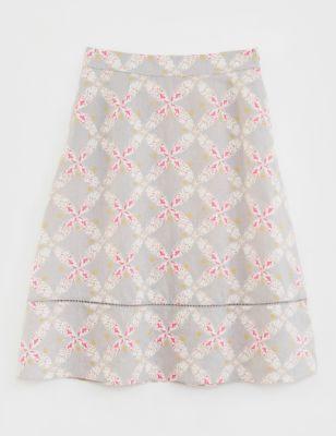 Pure Linen Floral Midi A-Line Skirt