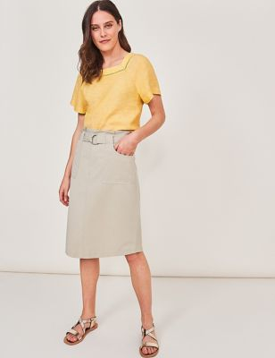 Cotton Belted Utility Pencil Skirt