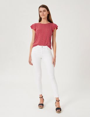 Jersey Polka Dot Short Sleeve Blouse