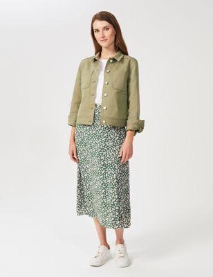 Floral Split Front Midi A-Line Skirt