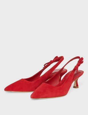Suede Kitten Heel Pointed Slingback Shoes