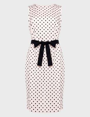 Cotton Polka Dot Round Neck Shift Dress