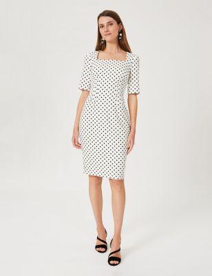 Cotton Polka Dot Square Neck Shift Dress