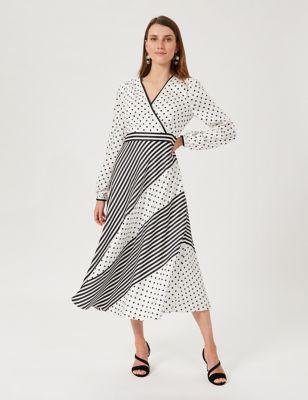 Polka Dot Striped V-Neck Midi Swing Dress
