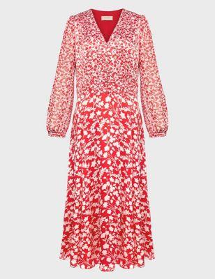 Floral V-Neck Button Front Midi Tea Dress
