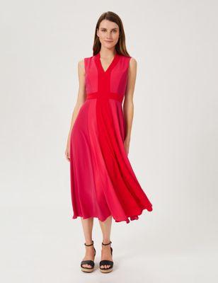 V-Neck Sleeveless Midi Swing Dress