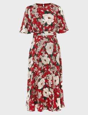 Satin Floral Round Neck Midi Swing Dress