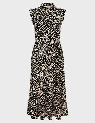 Spot Print Sleeveless Midi Shirt Dress