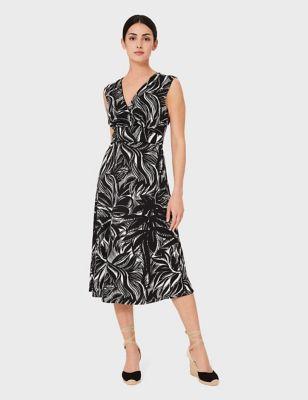 Jersey Floral V-Neck Sleeveless Midi Dress