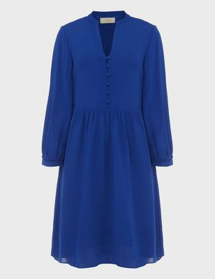 Crepe Collared Knee Length Smock Dress