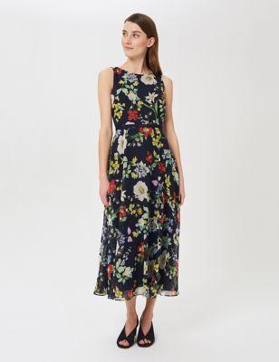 Floral Sleeveless Midi Swing Dress