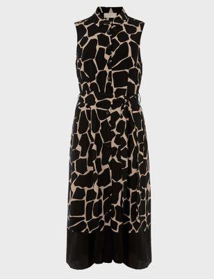 Animal Print Sleeveless Midi Shirt Dress