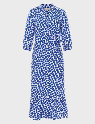 Geometric Collared Midaxi Shirt Dress