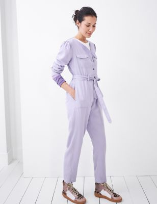 Belted Long Sleeve Utility Jumpsuit