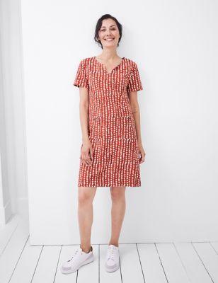 Pure Cotton Spot Print Shift Dress