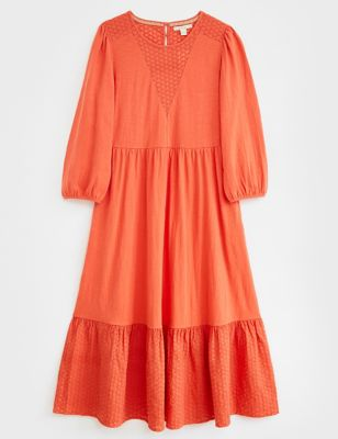 Pure Cotton Broderie Midi Tiered Dress