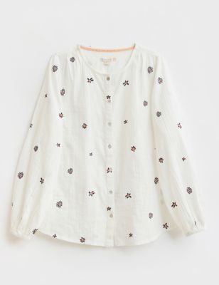 Pure Cotton Floral Embroidered Shirt
