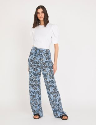 Animal Print Wide Leg Trousers