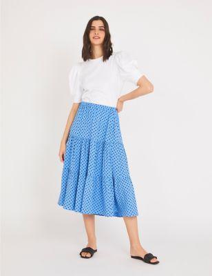 Polka Dot Midi Tiered Skirt