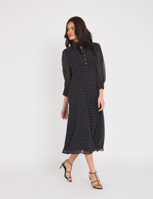 Chiffon Polka Dot Midi Tea Dress
