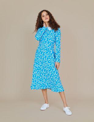 Floral Peter Pan Collar Midi Tea Dress
