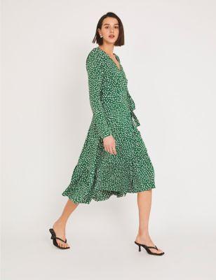 Polka Dot V-Neck Midi Wrap Dress