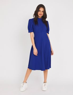 High Neck Puff Sleeve Midi Tea Dress