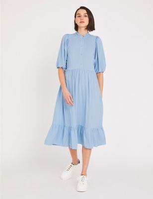 High Neck Frill Detail Midi Smock Dress