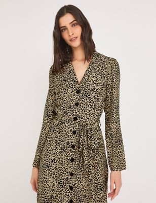 Crepe Animal Print Midi Shirt Dress