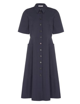 Pure Cotton Button Front Midi Shirt Dress
