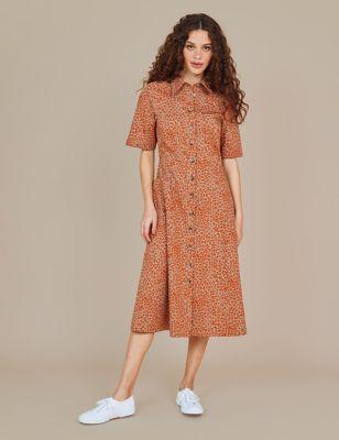 Pure Cotton Animal Print Midi Shirt Dress