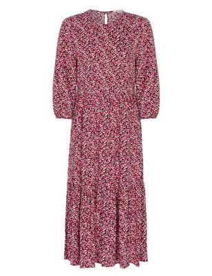 Floral Round Neck Midi Tiered Dress