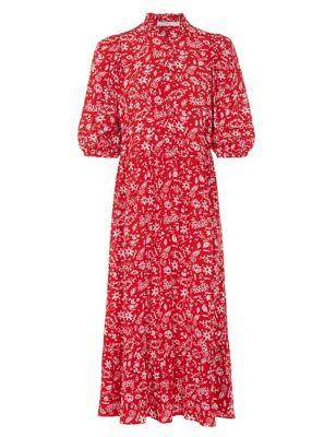 Printed High Neck Midi Smock Dress
