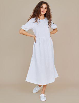 Linen Embroidered Round Neck Midi Tea Dress