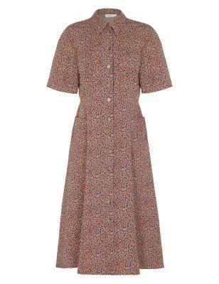 Pure Cotton Floral Midi Shirt Dress
