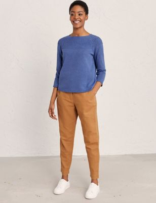 Cotton Tapered Ankle Grazer Trousers