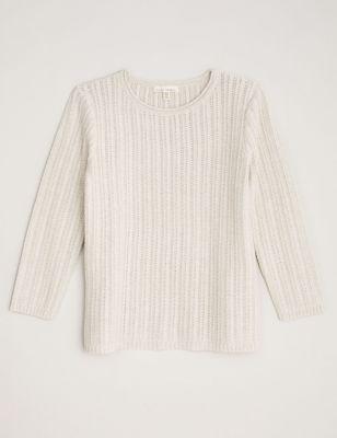 Organic Cotton Textured Slash Neck Jumper