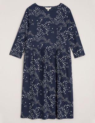 Organic Cotton Printed Midi Waisted Dress